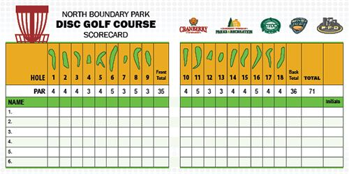 North Boundary Park Disc Golf Scorecard